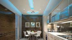 plafond décoré LED cuisine moderne contemporaine