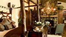 bois massif lit à baldaquin rustique