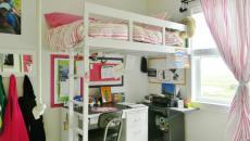 blanc et rose chambre de fille lit mezzanine