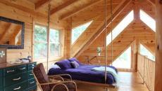 mezzanine bois rustique lit suspendu