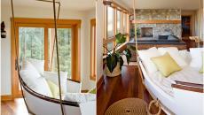 barque transformé en canapé lit suspendu séjour salon amis