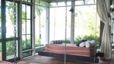 lits dans un agrandissement veranda