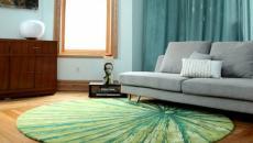 tapis de sol rond design rétro séjour living room