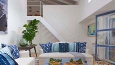 ameublement design bleu blanc maison de vacances