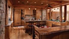 grande cuisine placards en bois esprit rustique