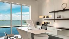 vue imprenable bureau en blanc