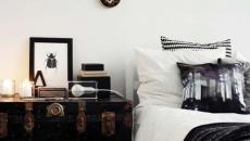 malle de voyage ancienne table de nuit chambre moderne