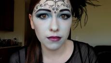 simple maquillage Halloween toile araignée visage