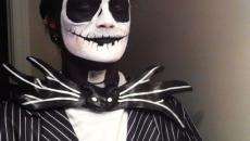 maquillage Halloween déguisement macabre en noir et blanc