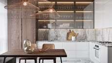 cuisine appartement semi ouverte en L