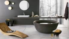 salle de bains design foncé marbre unique