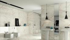 moderne et contemporaine salle de bain en marbre blanc