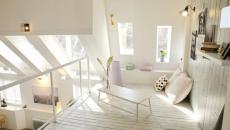 mezzanine aménagé en blanc