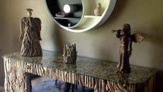 meuble bas au design bois original séjour