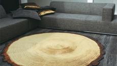 tapis rond bois inspiration forêt nature