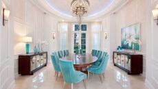 belle salle à manger design moderne chaises velours