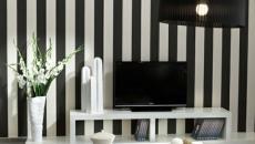 séjour design rayures aux murs