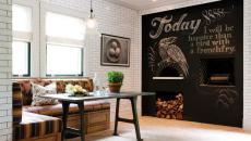 mur rustique cuisine familiale tableau noir