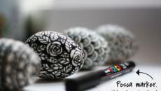 dessin œufs de pâques noir et blanc