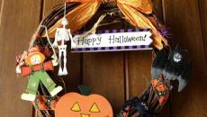 Couronne de déco Halloween porte d'entrée