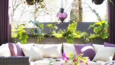 belle espace outdoor aménagé décoré tapis