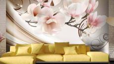 fleurs zen design moderne effet trompe l'œil papier peint