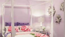style de déco chambre à coucher lit baldaquin drap fleurs