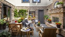séjour extérieur tapis outdoor moderne