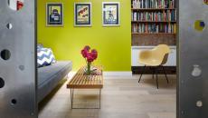 déco de salon mur peint en citron vert