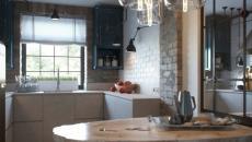 petite cuisine design industriel d'appartement de ville