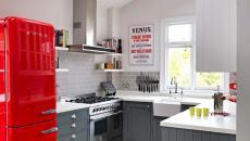 cuisine moderne gris et rouge compacte pratique