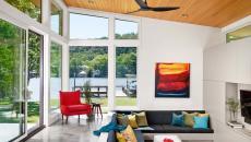 petite fosse de conversation assises en contrebas maison moderne