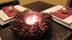 déco bougies pommes de pin simples