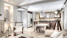 salon moderne pièce avec cuisine
