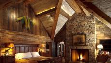 ameublement chambre rustique cheminée