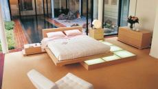 chambre minimaliste donnant piscine patio