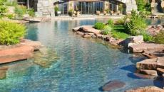 piscine aménagée lac extérieur jardin