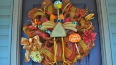 Décoration de porte d'entrée couronne Halloween