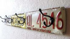 plaques d'immatriculation ancienne porte-manteaux