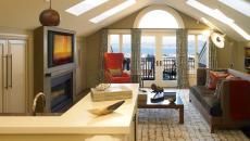 appartement mansardée ameublement design moderne cheminée