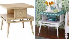 table en bois décorée et repeinte