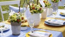 jardin table rustique avec fleurs