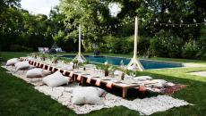 accueillir plusieurs invités dans le jardin piscine
