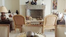 beau séjour rustique avec cheminée ancienne