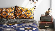rétro chambre à coucher couleurs bleu thème