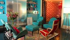couleurs et meubles rétro séjour original