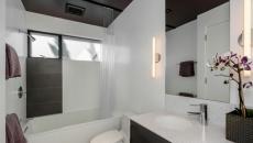 belle salle de bain noir et blanc