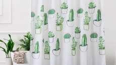 accessoire rideau douche cactus salle de bains sympa