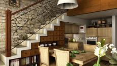 cuisine aménagée design sous l'escalier