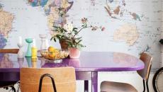 salle à manger décoration papier peint atlas du monde